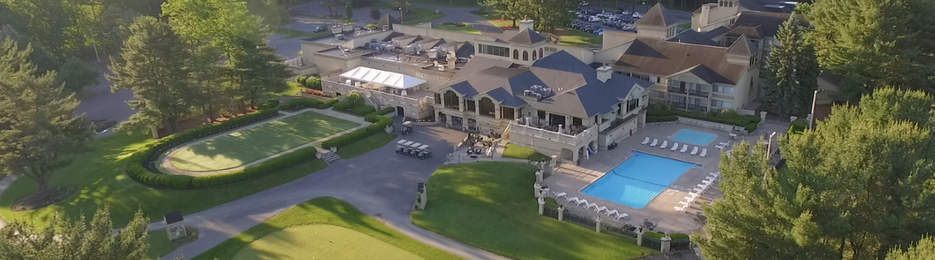 Aerial view of the clubhouse at Toftees Golf Resort